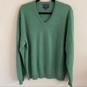 Club Room Estate Cashmere V neck Sweater Green L